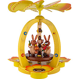 1 - Tier Easter Pyramid Yellow with three Bunnies  -  29cm / 11.4 inch