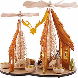 1 - Tier Pyramid  -  Two Winged Wheels  -  Nativity, Colored  -  37x35cm / 14.5x14 inch