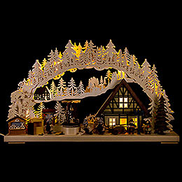 3D Candle Arch  -  'Setting Up the Christmas Market'  -  72x43cm / 28x17 inch