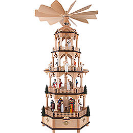 4 - Tier Pyramid  -  Nativity Scene with Musical Mechanism  -  70cm / 27.6 inch