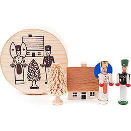 Angel and Miner in Wood Chip Box  -  4cm / 1.6 inch