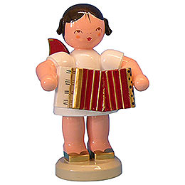 Angel with Accordion  -  Red Wings  -  Standing  -  9,5cm / 3,7 inch