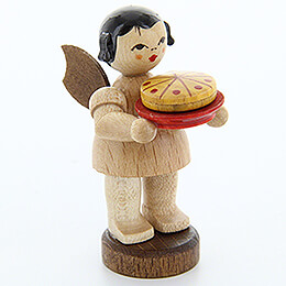 Angel with Cake  -  Natural Colors  -  Standing  -  6cm / 2.4 inch