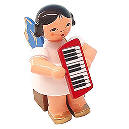 Angel with Melodica  -  Blue Wings  -  Sitting  -  5cm / 2 inch