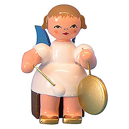 Angel with Small Gong  -  Blue Wings  -  Sitting  -  5cm / 2 inch