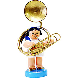 Angel with Sousaphone  -  Blue Wings  -  Standing  -  6cm / 2.3 inch