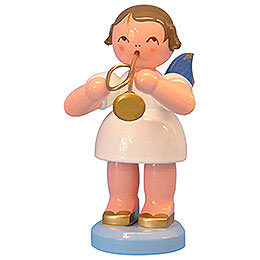 Angel with Trumpet  -  Blue Wings  -  Standing  -  9,5cm / 3,7 inch