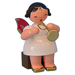 Angel with Trumpet  -  Red Wings  -  Sitting  -  5cm / 2 inch