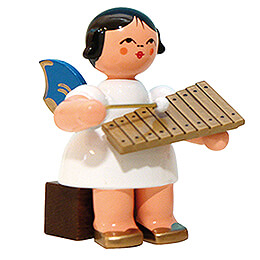 Angel with Xylophone  -  Blue Wings  -  Sitting  -  5cm / 2 inch