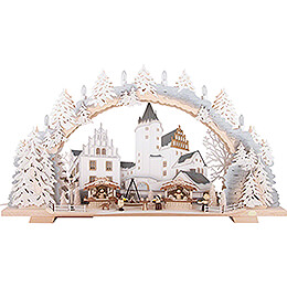 Candle Arch  -  Christmas Market at Schwarzenberg Castle with Snow  -  72x43cm / 28.3x16.9 inch