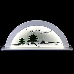 Candle Arch  -  Erle Weiss with Glas and Green Fir Tree  -  79x14x35cm / 31x5.5x14 inch