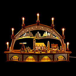 Candle Arch  -  Miners Parade with Moving Figurines  -  76x52cm / 29.9x20.5 inch