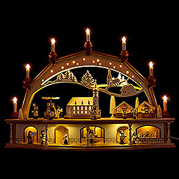 Candle Arch  -  Old Town with Arcades and Moving Figurines  -  76x55cm / 29.9x21.7 inch