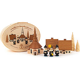 Carolers with Seiffen Church natural in Wood Chip Box  -  5cm / 2 inch