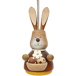 Easter Ornament  -  Teeter Bunny with Egg - Basket Natural  -  9,8cm / 3.9 inch