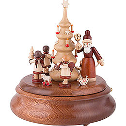 Electronic Music Box  -  Santa with Angels Natural  -  21cm / 8 inch