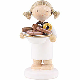 Flax Haired Angel with Christmas Treats  -  5cm / 2 inch