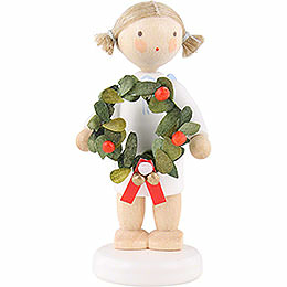Flax Haired Angel with Christmas Wreath  -  5cm / 2 inch