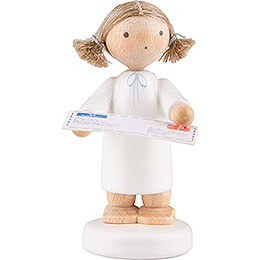 Flax Haired Angel with Letter to Santa Claus  -  5cm / 2 inch