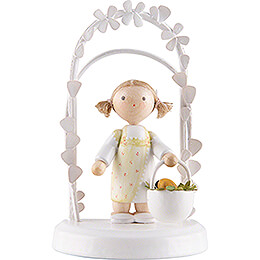 Flax Haired Children  -  Birthday Child with Easter Basket  -  7,5cm / 3 inch