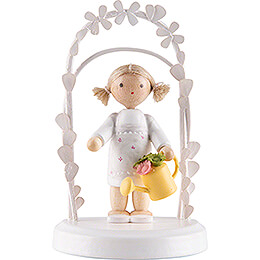 Flax Haired Children  -  Birthday Child with Watering Can  -  7,5cm / 3 inch