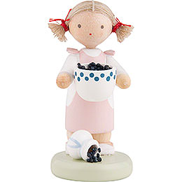 Flax Haired Children Girl with Blueberries  -  5cm / 2 inch