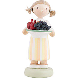 Flax Haired Children Girl with Fruit Platter  -  5cm / 2 inch