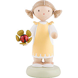 Flax Haired Children Girl with Lady Bug  -  5cm / 2 inch