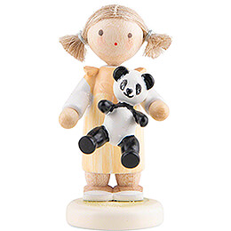 Flax Haired Children Girl with Panda  -  5cm / 2 inch