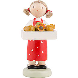 Flax Haired Children Girl with Pears  -  5cm / 2 inch