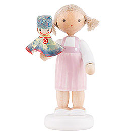 Flax Haired Children Girl with Punch, Colorful  -  5cm / 2 inch