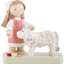 Flax Haired Children Little Girl with Big Dog  -  5cm / 2 inch