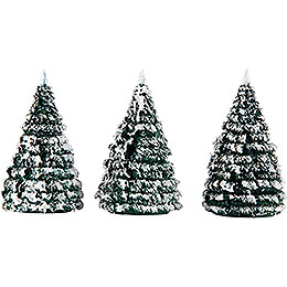 Frosted Trees  -  Green - White  -  3 pieces  -  6cm / 2.4 inch