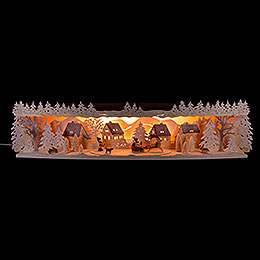Illuminated Stand Reindeer Sleigh with Snow  -  75x20x15cm / 29.5x7.9x5.9 inch