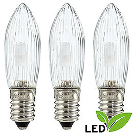 LED Rippled Bulb Clear  -  E10 Socket  -  Warm White  -  0.1 - 0.3W