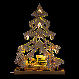 Light Triangle  -  Fawn with Manger and White Frost  -  32x44cm / 12.6x17.3 inch