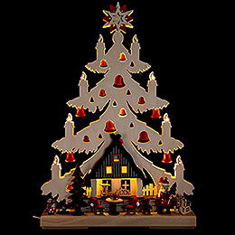 Light Triangle  -  Fir Tree  -  Christmas Eve with red Bells  -  32x44cm / 12.6x17.3 inch