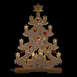Light Triangle  -  Fir Tree with Red Christmas Balls  -  32x44cm / 12.6x17.3 inch