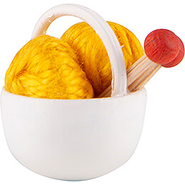 Little Basket with Wool,yellow  -  1,5cm / 0.6 inch