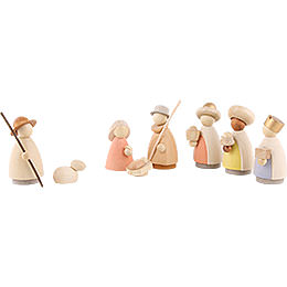Nativity Set of 8 Pieces Colored  -  Small  -  8,0cm / 3.1 inch