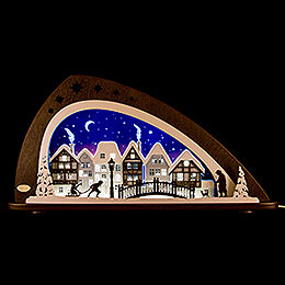 "Schwibbogen LED ""Winter in der Altstadt""  -  66x33,8cm"