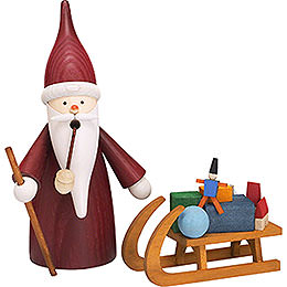 Smoker  -  Christmas Gnome with Sleigh  -  16cm / 6 inch