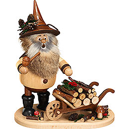 Smoker  -  Gnome with Wheel Barrow  -  25cm / 9.8 inch