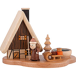 Smoker  -  House with Santa Claus on Pedastal for One Tea Candle, Natural  -  16x21,5x12cm / 4.7 inch