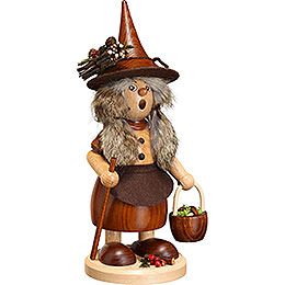 Smoker  -  Lady Gnome with Mushroom Bucket, Natural  -  25cm / 10 inch