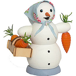 Smoker  -  Snow Woman with Carrot Bucket  -  13cm / 5.1 inch