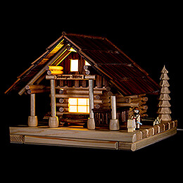 Smoking Lighted House  -  Freiberg Hut with Figurine  -  25cm / 9.8 inch