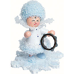 Snowflake with Tambourine  -  5cm / 2 inch
