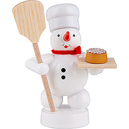 Snowman Baker with Bread Peel and Cake  -  8cm / 3.1 inch