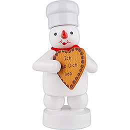 Snowman Baker with Gingerbread Heart  -  8cm / 3.1 inch